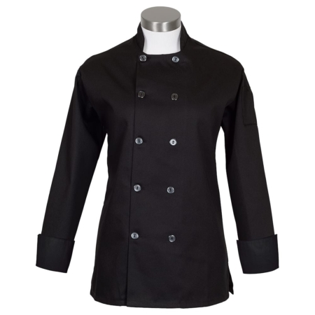 c100p womens chef coat black