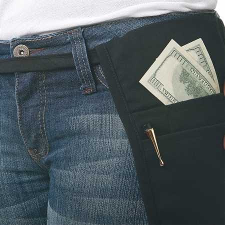 Black Money Pouch with Tie Belt