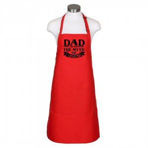 Dad the man apron - red